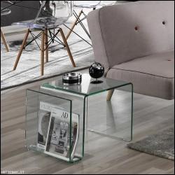 Tavolino Magazine vetro curvato