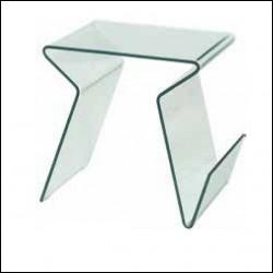 Tavolino Rocket vetro curvato