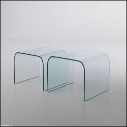Tavolino Kristal Bis vetro curvato