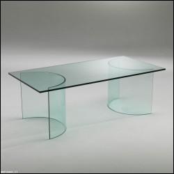 Tavolino Mezzaluna vetro curvato
