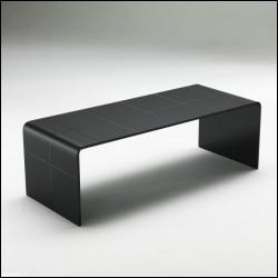 Tavolino Scacco nero vetro curvato