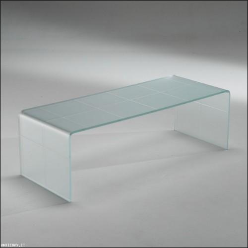Tavolino Scacco satinato vetro curvato
