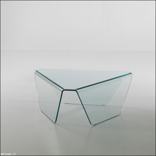 Tavolino Triangle Glass vetro curvato